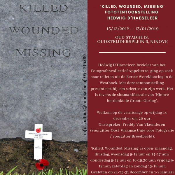 Fototentoonstelling KILLING – WOUNDED – MISSING van Hedwig D'Haeseleer @ Oud Stadhuis Ninove | Ninove | Vlaanderen | België